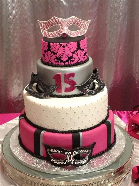 masquerade themed quinceanera cakes quince with gumpaste masks cakes to admire pinterest