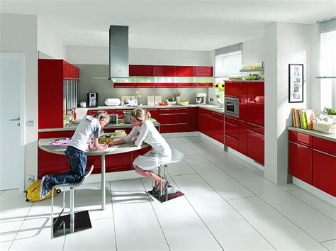 red kitchen with white cabinets high gloss napoli red kitchen decoist