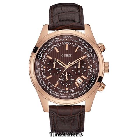 new guess for chronograph brown leather