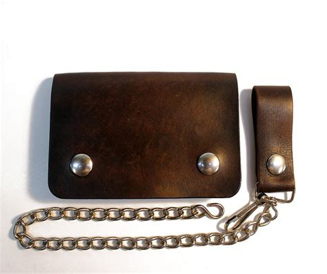 Handmade Leather Goods Usa - handmade leather biker chain wallet snap wallet made in