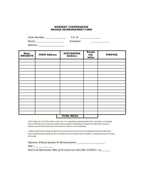 26 Sle Claim Forms In Word Sle Templates Mileage Reimbursement Form Template