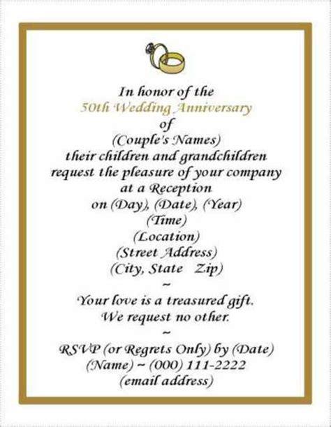 anniversary invitation cards templates free 50th wedding anniversary invitation template