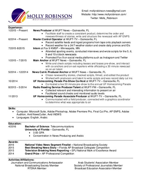 Multimedia Producer Sle Resume by Molly Robinson Resume Multimedia Producer