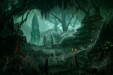 lay monster town a scary and awesome tower defense fantasy forest village night wallpaper d d cities