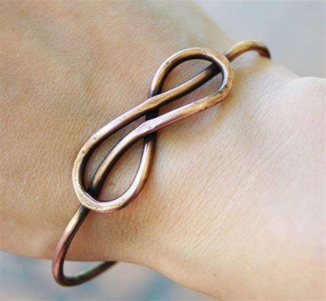 infinity bracelet knot bangle oxidized copper wire