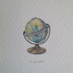 Cristie Original 139 acquerello dipinto valigie vintage e globe e verde viaggi wanderlust illustrazione