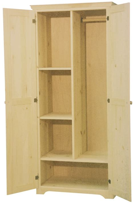 unfinished armoire 2 door armoire in maple with adjustable shelves bedroom