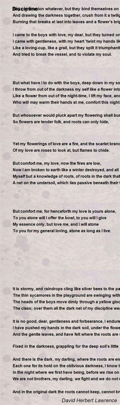 discipline poem by david herbert lawrence poem hunter