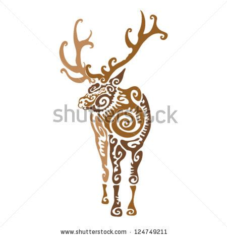 tribal elk tattoos stock images similar to id 94658707 ornamented deer