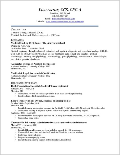 Billing And Coding Resume by Sle Resume For Billing And Coding With No