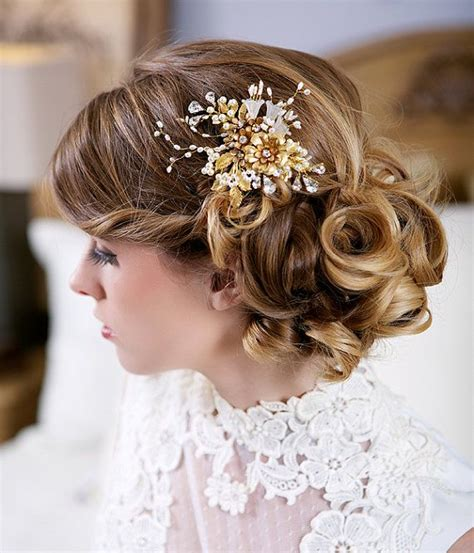 gold and flower headpiece gold bridal by gilded
