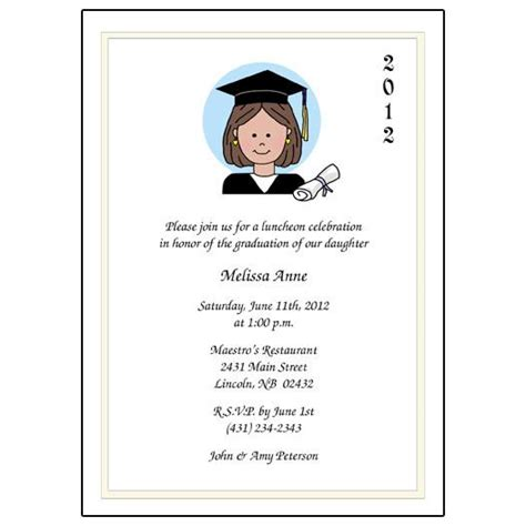 cartoon person graduation invitation  announcement