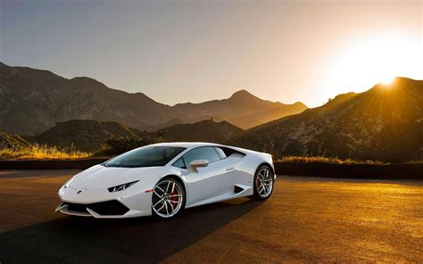Car White Wallpaper by Lamborghini Huracan Lp640 4 White Supercar At Sunset