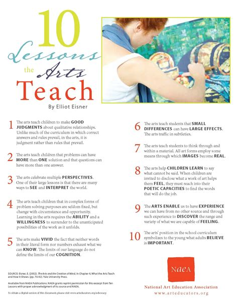 10 Valuable Lessons To Teach Your by Ten Lessons The Arts Teach Portage Visual Arts