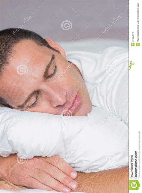 Bedroom Asleep Handsome Sleeping On His Pillow Royalty Free Stock