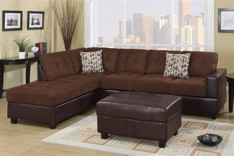 brown microfiber sectional poundex odalis f7266 brown microfiber sectional sofa in