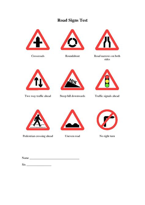 printable road sign test 4 best images of printable traffic sign test printable