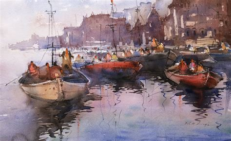 best l for painting watercolor varanasi ghats painting