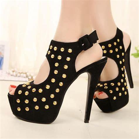 Sandal Heels Garsel E 408 suede black peep toe studded high heels fashion sandals on