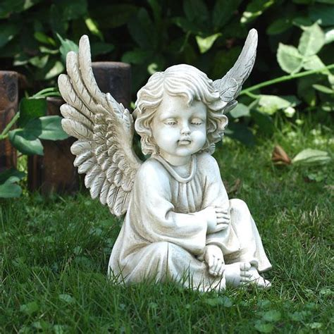 sitting garden angel cherub statue lawn memorial decor