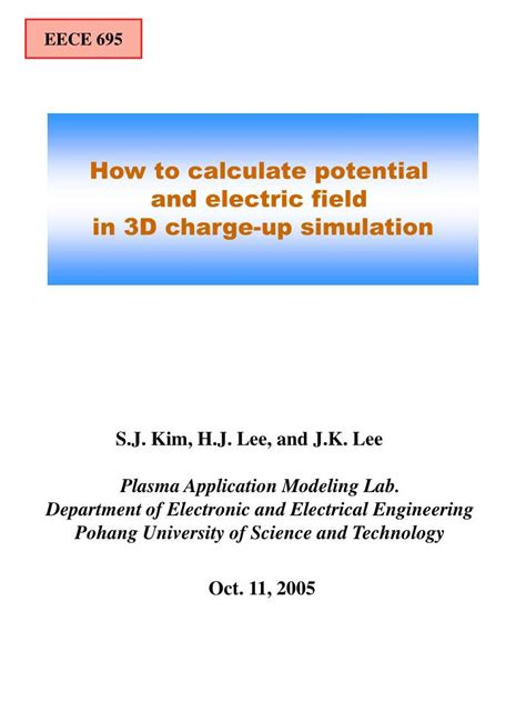 how to calculate how it takes to charge a capacitor ppt how to calculate potential and electric field in 3d charge up simulation powerpoint
