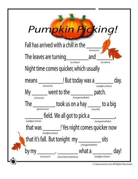Christmas Crafts For Classroom - fall mad libs pumpkins woo jr kids activities