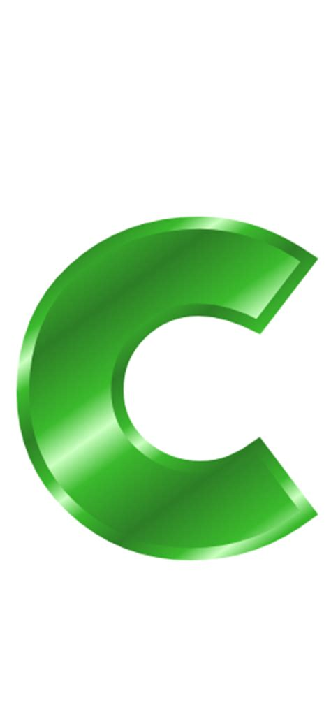 Green C green metal letter c signs symbol alphabets numbers