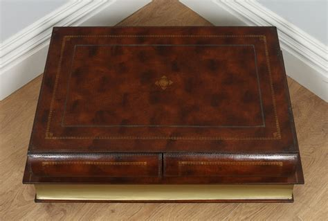 Book Shaped Coffee Table Vintage Brown Leather Book Form Shaped Coffee Table Circa 1980 Antique