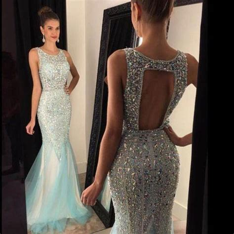 Colors Dress Rubia G411 unique neck backless sequin rhinestone mermaid prom dress evening dress crystals