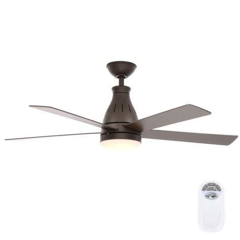 rubbed bronze ceiling fan with light hton bay cobram 48 in led indoor rubbed bronze