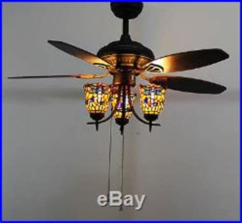 ceiling fan uplight kit makenier vintage stained glass dragonfly uplight