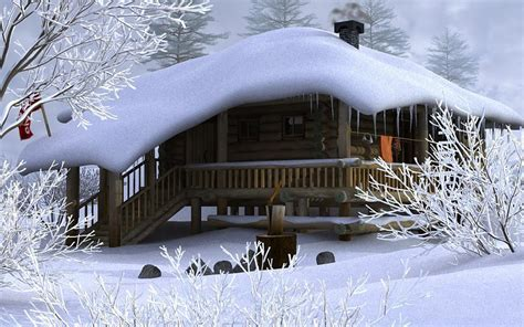 winter house forest in the mountain winter season hd wallpaper