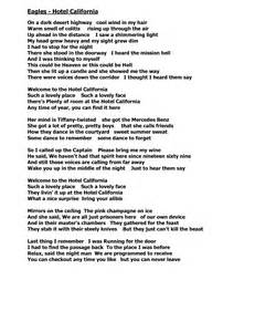 printable lyrics hotel california hotel california by eagles song images download pdf