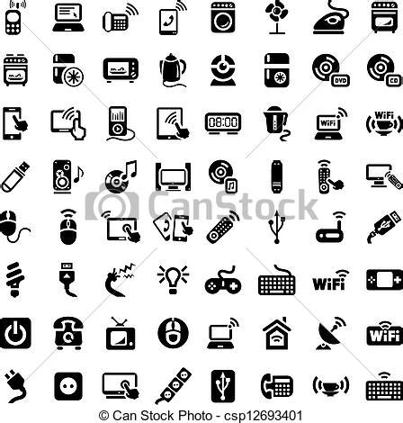 vector clipart  big electronic devices icons set