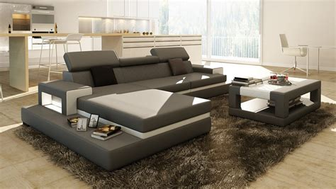 divani casa 5081b grey and white leather sectional sofa w