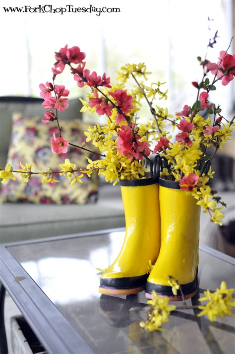 Wreath Ideas For Front Door by Recycled Rain Boots Pork Chop Tuesday