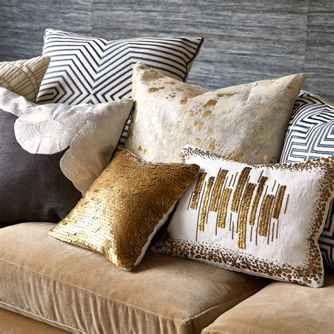 Where To Get Throw Pillows by Cowhide Metallic Throw Pillow Modern Textured Embellished Jonathan Adler