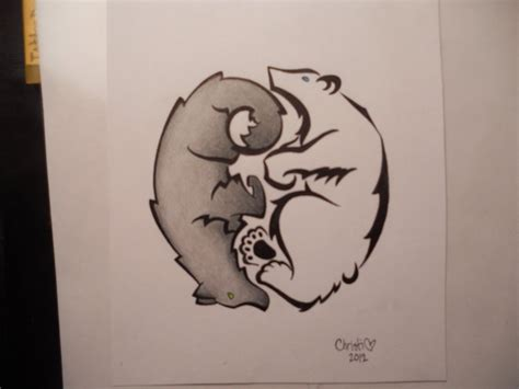 bear wolf yin yang tattoo design by prissychrissy on