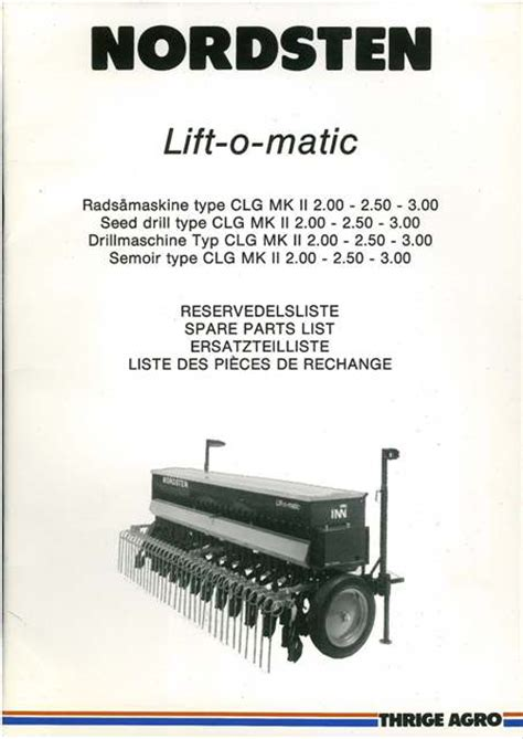 nordsten lift o matic type clg mkii seed drill parts
