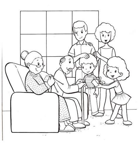 coloring pages of joint family familia para colorear