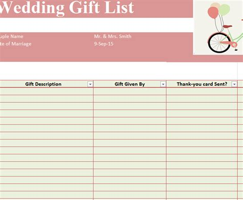 Wedding Gift List Template Sheet » Template Haven