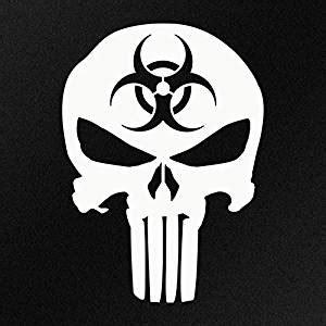 Biohazard 01 Sticker punisher skull biohazard decal vinyl sticker cars trucks vans walls laptop white 5