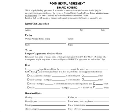 shared use agreement template 16 room rental agreement template free word doc pdf