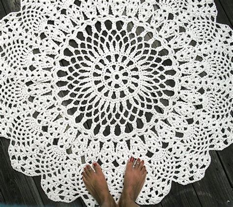 how to crochet a circle rug made cotton crochet rug in large 42 quot circle pineapple lacy pattern by bycamilledesigns