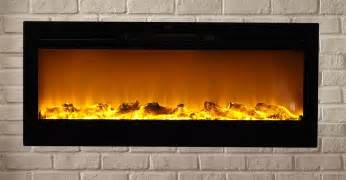 sideline50 wall recessed electric fireplace in black