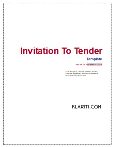 tender document template for construction invitation to tender itt template ms word