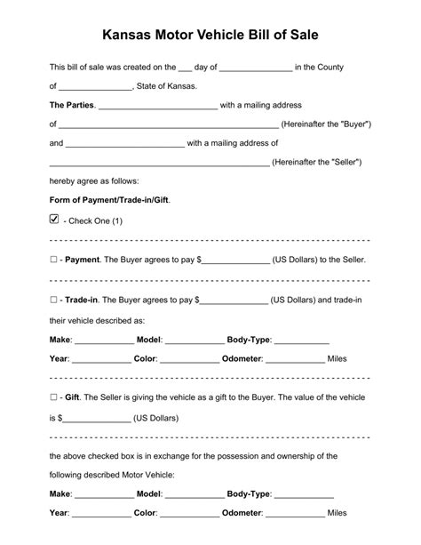 free kansas bill of sale forms pdf word eforms