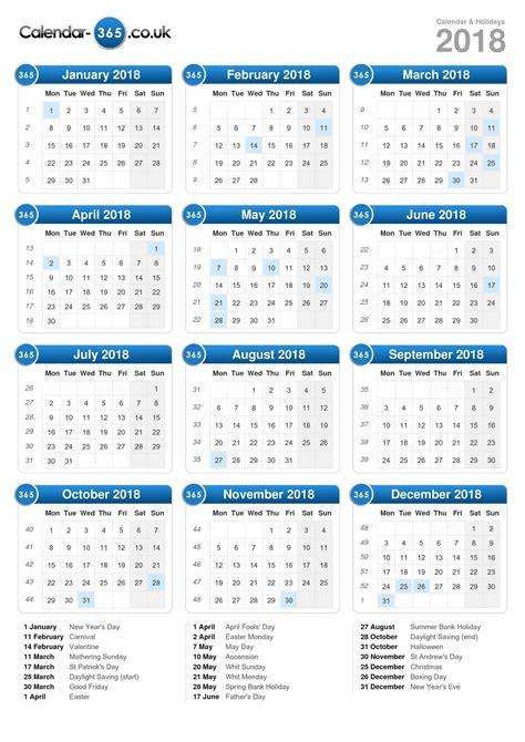 Calendã Semanas 2018 Calendar 2018