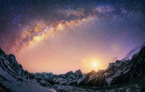landscape nature milky  galaxy mountain snow