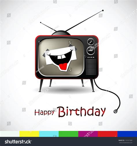 Tv Birthday Cards Happy Birthday Card With Tv Stock Vector Illustration